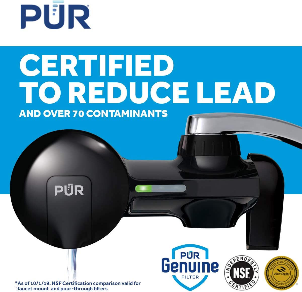 PUR PFM100B Faucet Mount Water Filter - Certified to reduce lead