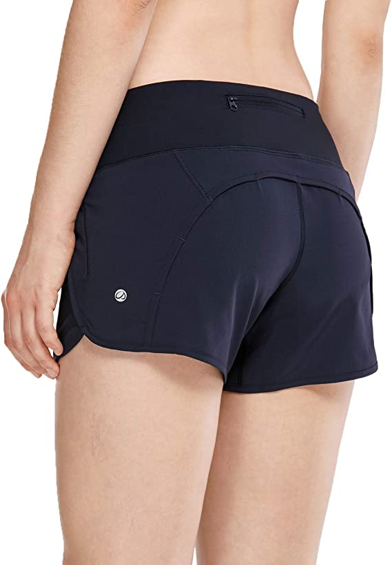 CRZ YOGA Womens Workout Sports Running Active Shorts with Zip Pocket 2.5 Inches