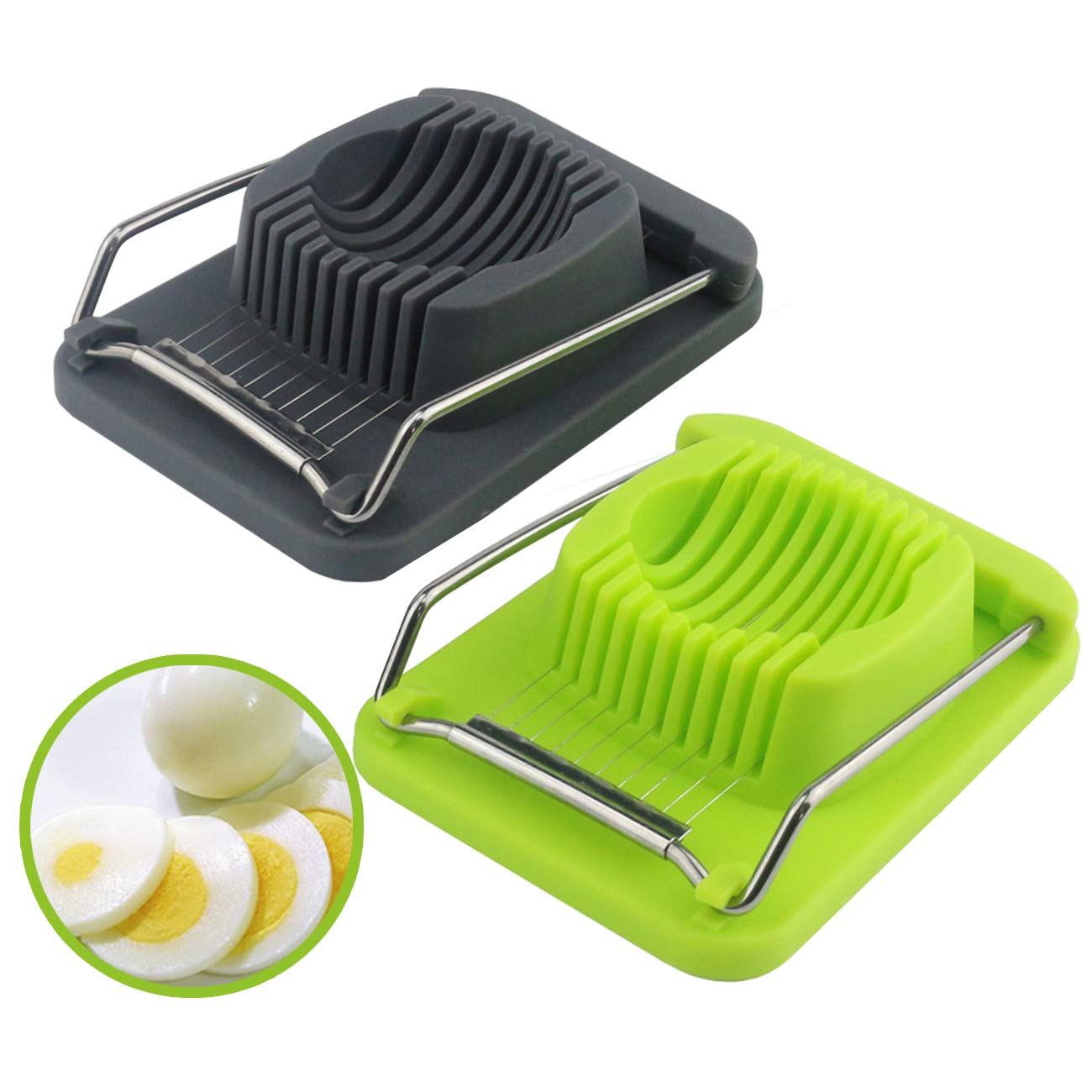 TinaWood 2PCS Egg Slicer/Boiled Eggs Cutter/ Stainless Steel Cutting Wiresb/ Multi Purpose Slicer for Strawberry Fruit Garnish Slicer (Green and Grey) ES-2