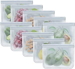 Quart Freezer Bags Reusable Food Storage Bags for Vegetable, Liquid, Snack, Meat, Sandwich, 8.46x7.28 Inch, 10 Pack