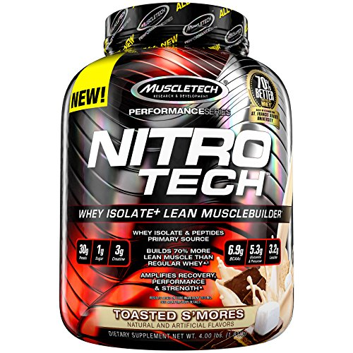 MuscleTech NitroTech Protein Powder Plus Muscle Builder, 100% Whey Protein with Whey Isolate, Toasted S'mores, 40 Servings (4lbs)