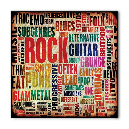 Ambesonne Music Bandana, Music Rock n Roll Poster, Unisex Head and Neck Tie