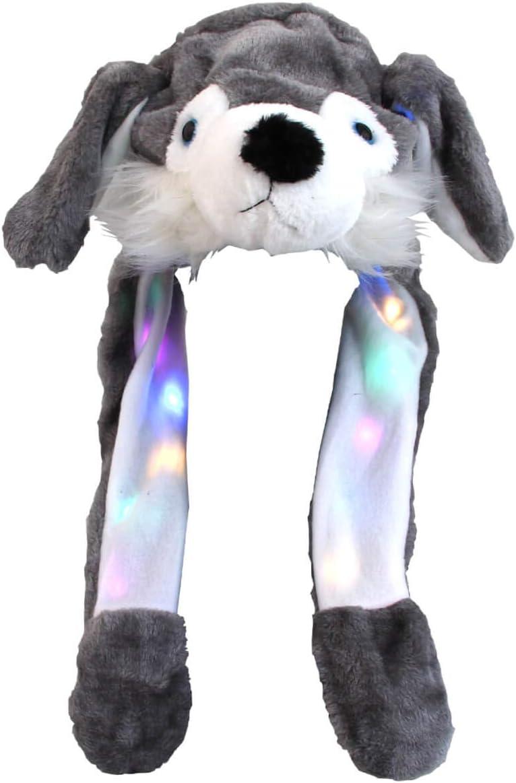 Divertente Cappello Coniglio Bianco con Luci LED Peluche Che muove Le Orecchie Cappuccio Taglia Unica per Bambini e Adulti Berretto Accessorio Invernale con Orecchi Mobili