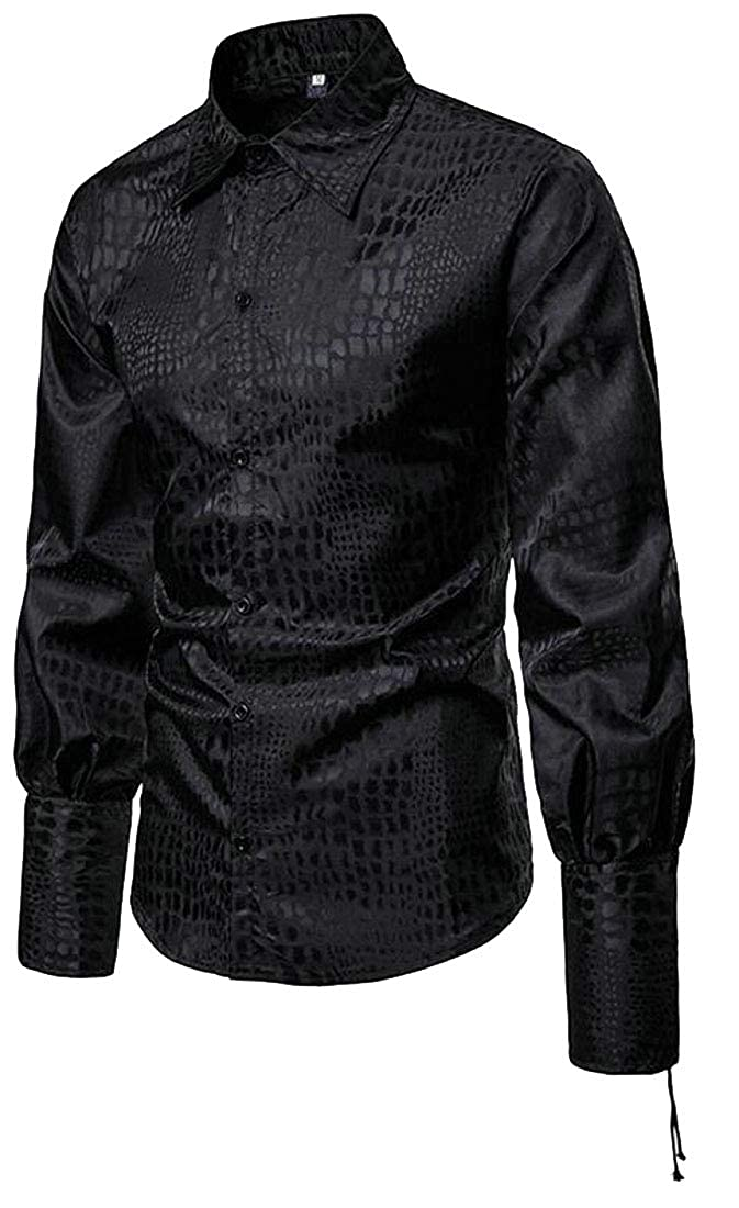OTW Men Gentlemen Plaid Print Button Down Casual Long Sleeve Lapel Shirt