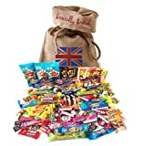 cadbury mini eggs christmas - British Retro Nostalgic 100 Pieces Candy Assortment by The Yummy Palette | Fizz Wizz, Maoam Stripes, Haribo, Rainbow Drops and More! in Basically British Burlap Bag
