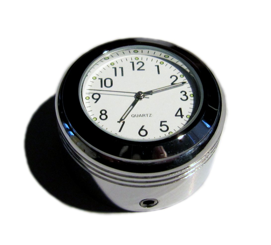British Made Grooved Royal Enfield® Billet Stem Nut Cover with Clock (Black Face) Pro-Street Cycles Ltd