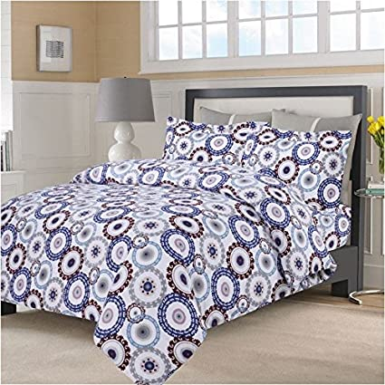3 Piece Multi Color Medallion Print Duvet Cover King/ Cal King Set,  Beautiful Mandala