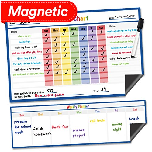 Dry Erase Magnetic Chore Chart  17quot x 11quot  Refrigerator Behavior Reward Incentive Magnet  Fridge Responsibility Charts for Kids Chores  Reusable Home Routine Toddler Child Calendar List Blue