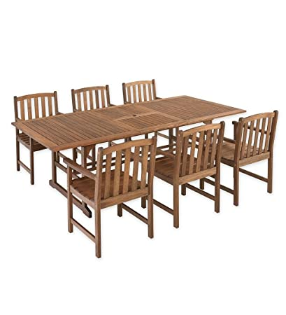 Lancaster Outdoor Furniture Collection Eucalyptus Wood Extension Dining  Table And 6 Chairs Set
