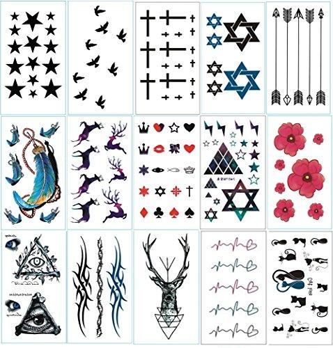 Licht-Speed 15er Set-Tattoo-Aufkleber Sticker temporäre Tattooset Körperkunst Entfernbare Muster Modeschmuck wasserdicht