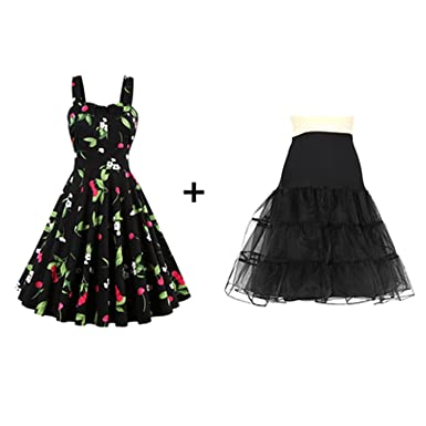 Summer Vintage Rockabilly Dress 60s 50s Retro Big Swing Floral Pinup Women Dress Vestidos,Dress