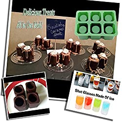 Single 1 Set of 6 Cups Square Shape Ice Shot Glass Maker, Chocolate Mold, Jelly Ice Cube Tray. FDA Food Grade Silicone Ice Mug Glass Color: Green by DidaDi