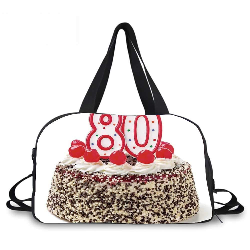 80th Birthday Decorations Personality Travel Bag,Birthday Party Cake with Cherries Sprinkles and Candles Image for Travel Airport,One_Size