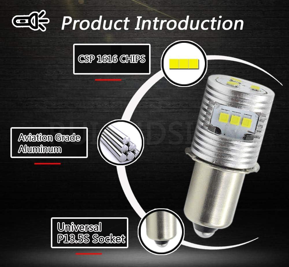 3V Raguso 1 unid P13.5S 1W Celdas LED Linterna Bombilla de Repuesto L/ámpara de antorcha Bombillas de luz de Trabajo de Emergencia Kit de conversi/ón de Piezas Antorcha Herramientas Linterna