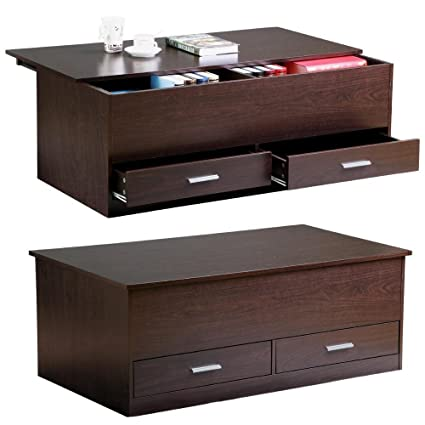 Yaheetech Slide Top Trunk Coffee Table With Storage Box U0026 2 Drawers,  Espresso Finish