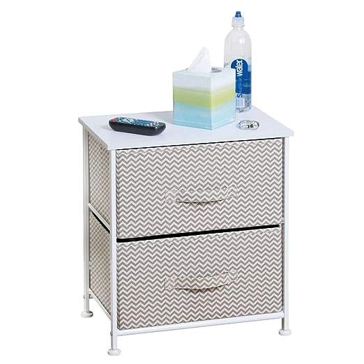 mDesign Mesa de luz con 2 cajones - Organizador de armarios en Tela - Cajoneras para armarios, para el Dormitorio o el vestidor - Color: Gris ...
