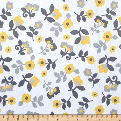 E.Z Fabric Minky Kashmir Floral Grey/Yellow Yard ()