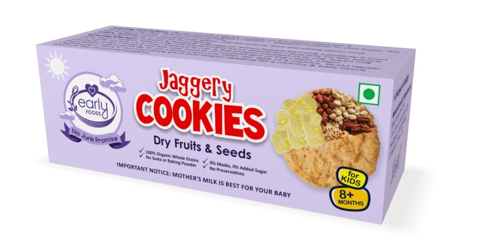 Early Foods Organic Dry Fruits And Seeds Jaggery Cookies 150G 8+ Months - Indian Baby & Kids Snacks