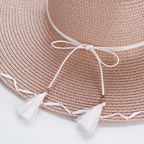 AOBRITON Sun Hat Women Wide Brim Straw Bow Beach Hat Travel Seaside Vacation Suncreen Cap by AOBRITON (Image #2)