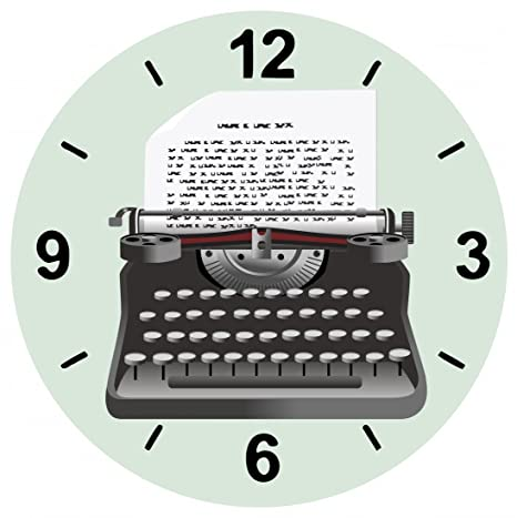 "Cristal Reloj ""Máquina de escribir de jahrgang de de entrada de Retro de"