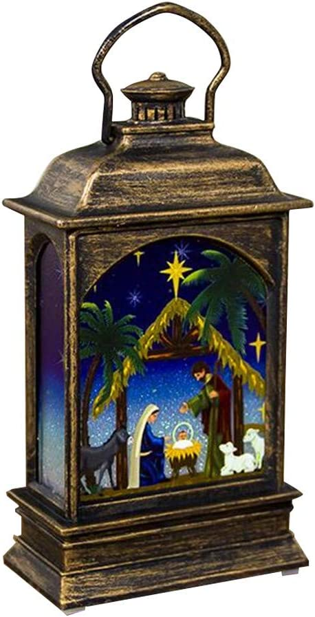 Christmas Decorations Lantern Lit Battery Operated Snow Globe Lanterns Home Decor Tabletop Hanging Light Xmas Candleholders Gifts A-Jesus Christ