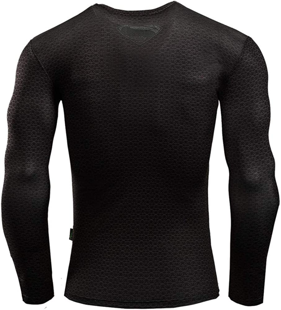 PKAWAY Mens Slim Fit Cool Long Sleeve Compression Workouts Shirt Black