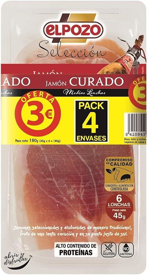 ELPOZO jamón curado medias lonchas pack 4 x 45 gr: Amazon.es ...