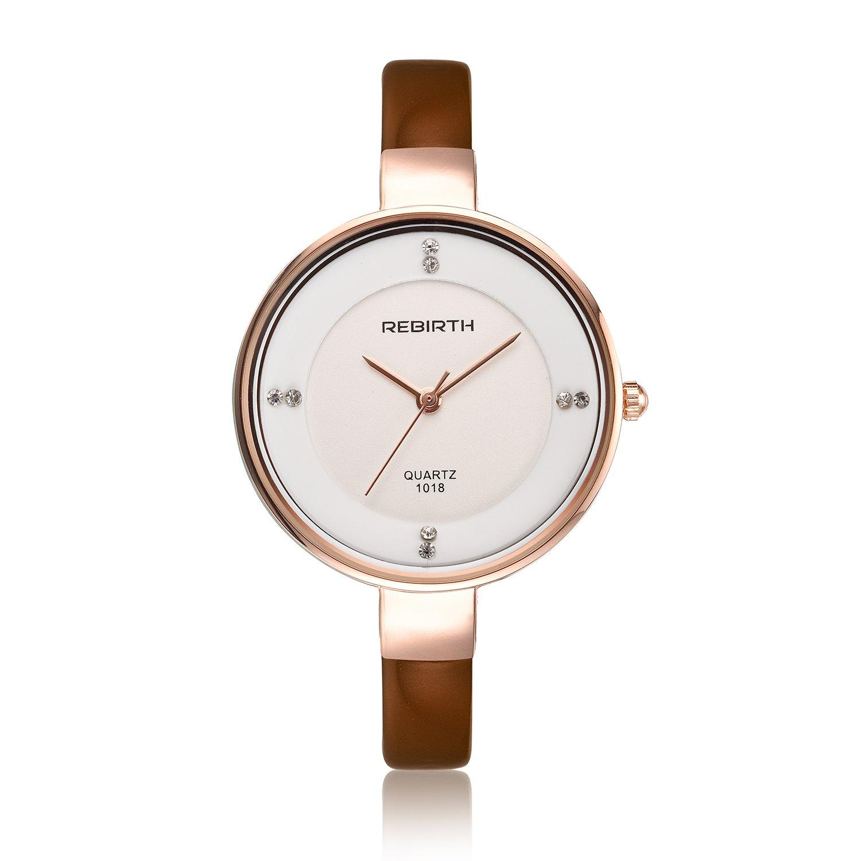 smeetoファッションクォーツ腕時計レディースSaleラグジュアリーセクシーなダイヤモンド装飾本革コーヒー色 B01MD15K77