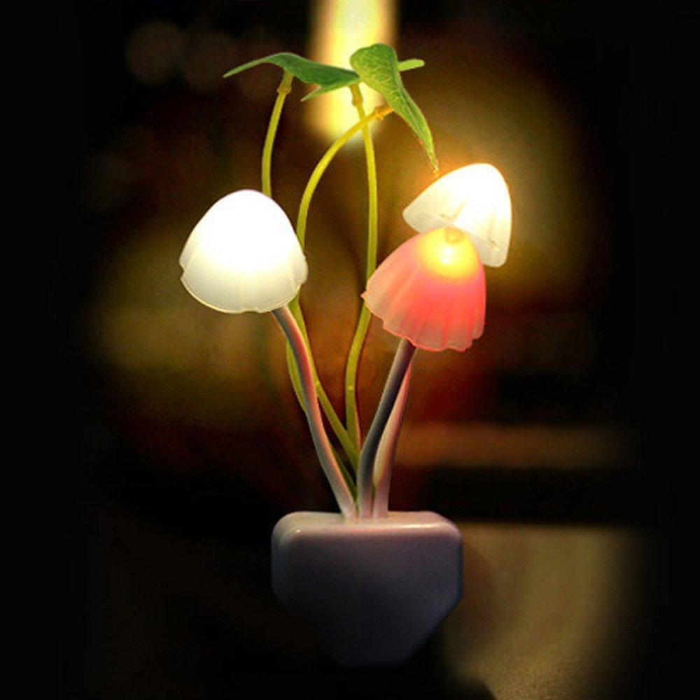 Night Light,ASDOMO Romantic Colorful Sensor LED Mushroom Night Light Wall Lamp Home Decor US Plug