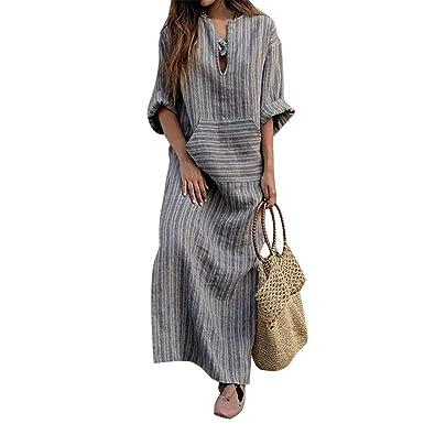 9d48ce39381 Jancure Plus Size Fashion Women Long Kaftan Striped Long Sleeve Loose Maxi  Dress at Amazon Women s Clothing store