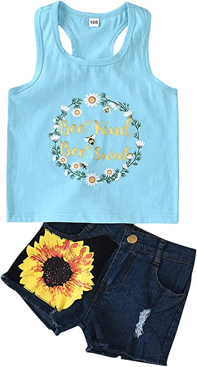 Amazon Com Puseky 2pcs Set Kids Girl Outfits Clothes Tank Top Short Pants For 1 8 Years Old Girl Clothing