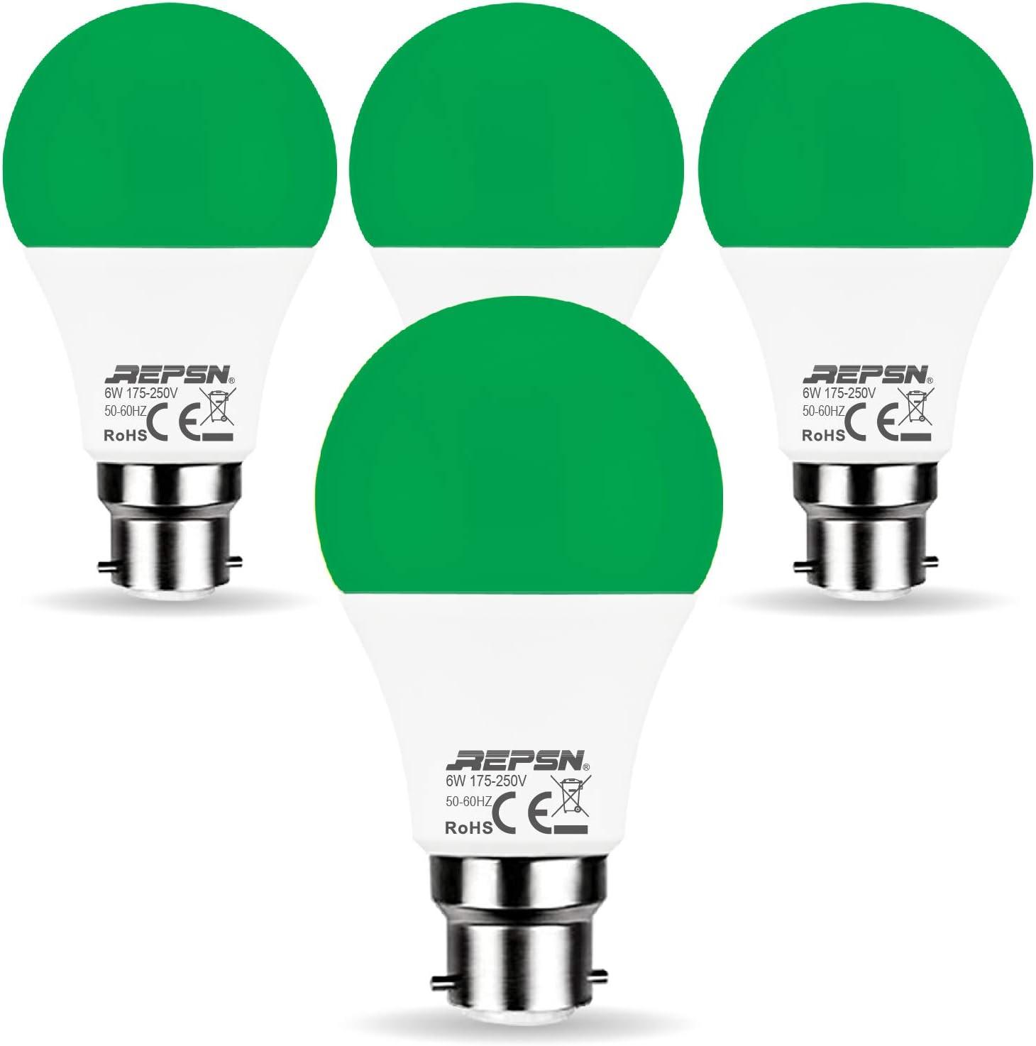 REPSN® 4 Pack LED B22 6W Foco de luz Decorativa A60 Para Fiestas de Colores Foco de Luz LED Para Camping,Durabel luz Decorativa Bub Para Jardín ,Camping,Fiesta,Armario,Barbacoa,Verde: Amazon.es: Iluminación