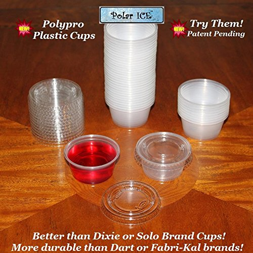 Polar Ice Jello Durable Plastic Shot Glasses, 2-Ounce, Translucent (Pack of 125)