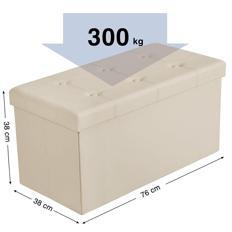 SONGMICS Baúl Puff Taburete para Almacenaje Plegable, Carga Máxima de 300 kg, 76 x 38 x 38 cm, Beige LSF40M