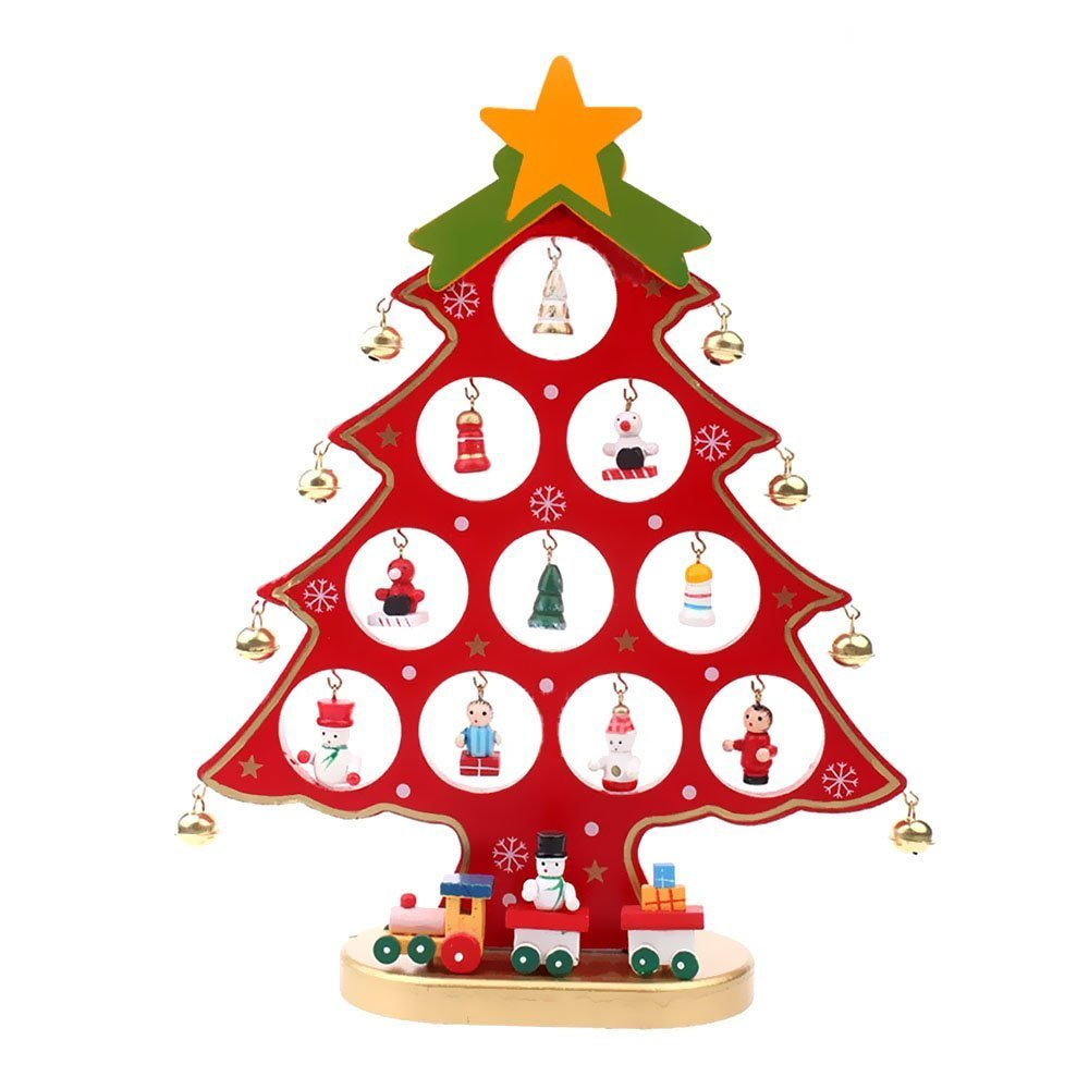 Colleer Wooden DIY Christmas Tree Decorations Detachable Xmas Tree Stand with Miniature Christmas Ornaments (Green, S-18cm) JJZS00101-GRXH