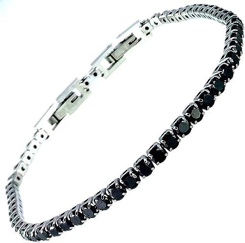 Bracciale tennis nero spessore 3 MM cristalli SWAROVSKI in acciaio inox  Lavorato a mano Made in Italy Amazon.it Gioielli
