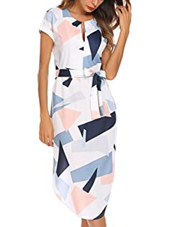 deaa89d5f77 TEMOFON Womens Dresses Summer Casual Floral Geometric Pattern Short Sleeve  Midi V-Neck Party Maxi