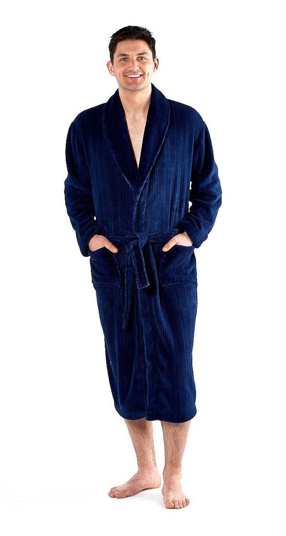 Harvey James Men's Stripe Print Fleece Bath Robe Dressing Gown 9718