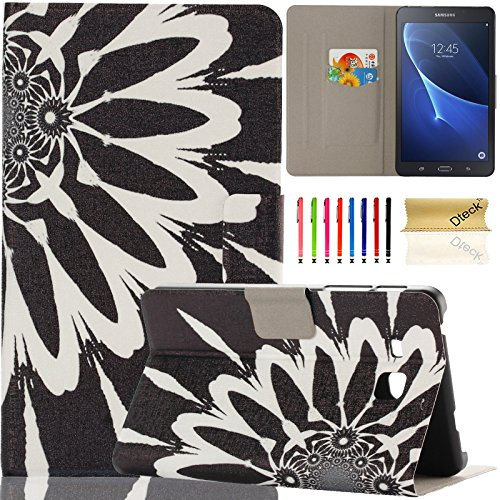 Galaxy Tab A 7.0 inch Case, Samsung SM-T280, Dteck Ultra Slim PU Leather Flip Stand Case with Cards Slots Protective Cover for Samsung Galaxy Tab A 7.0 T280 T285 (01 Black Sunflower)
