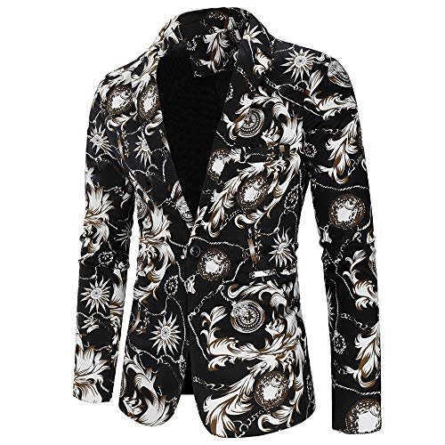 Mens Slim Fit Single Breasted Notched Lapel One Button Colorful Floral Blazer Jacket Black