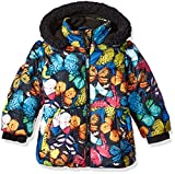 Big Chill Girls' Little Printed Bubble Jacket, Navy, 4