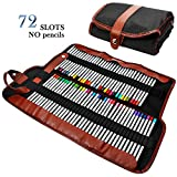 AFUNTA Pencil Wrap, Crayons Case Holder Organizer for 72 Assorted Color Pencil, Roll UP Washable Canvas Pencil Bag, Multi-purpose Pouch for School Office Art