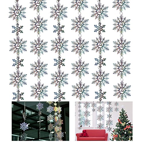 Tinksky 6PCS Hologram Glitter Snowflake Hanging Bunting Xmas Banner Garland Christmas Party Decoration Christmas Gift DIY 1.5M