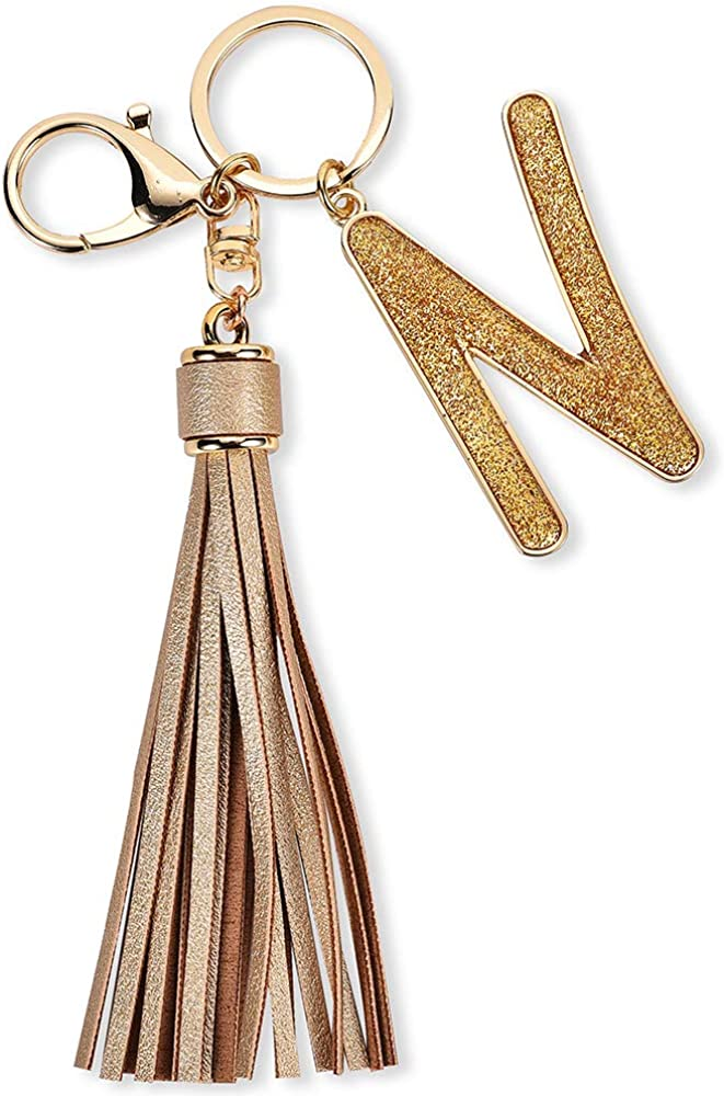 Junyuerly Intial Keychains Tassel Glitter Cute Large Letter Keyrings Accessories for Women Girls
