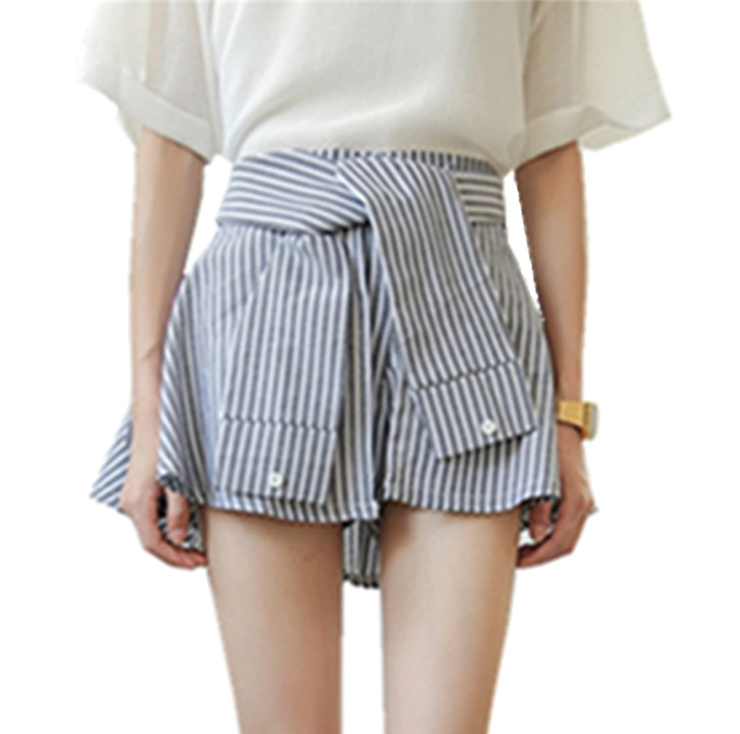 Sunflower@Fashion Womens Ladies Vertical stripes Pompon culottes shorts/skirts