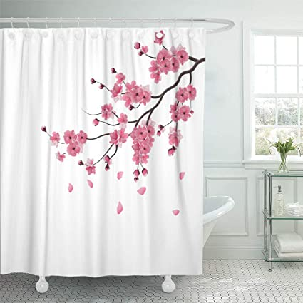 Pink Sakura Fabric Shower Curtain Set Bathroom Curtains Liner Accessories 180CM