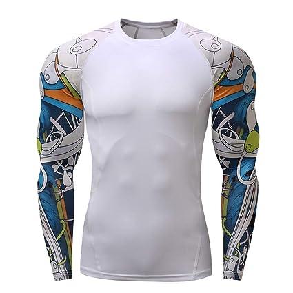 62ca4195c Amazon.com : Mens Sport Compression Shirt HSada Casual Long Sleeve Printing  Quick Drying Big ANG Tall Yoga Bodybuilding T-Shirt : Sports & Outdoors