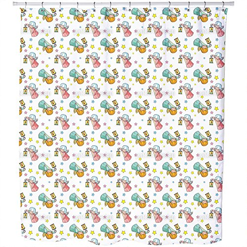 Uneekee Cute Angels Shower Curtain: Large Waterproof Luxurious Bathroom Design Woven Fabric by uneekee