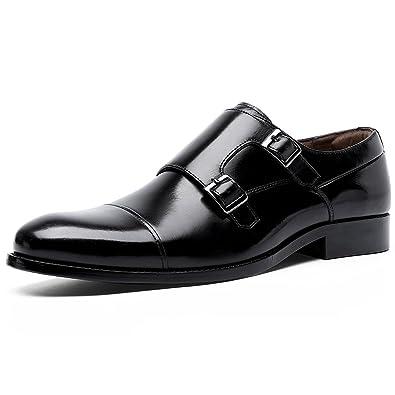 35607b61051c DESAI Genuine Leather Monk Strap Dress Shoes for Men Black 7 US 6718 39