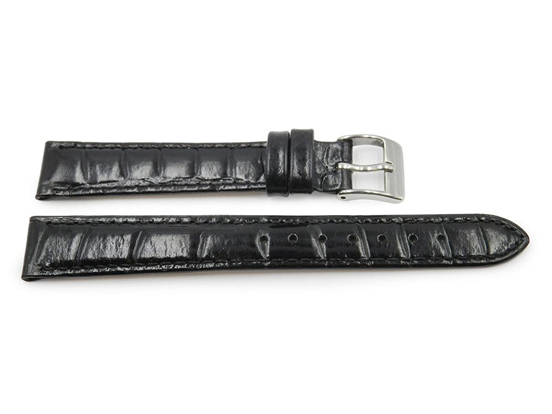 14 mm Genuineレザーブラックレディースワニエンボス光沢腕時計ストラップ  B06W9GFJ29